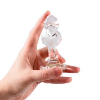 Анальная пробка стеклянная Crystal Delight Short Stem Mini Twist, прозрачная