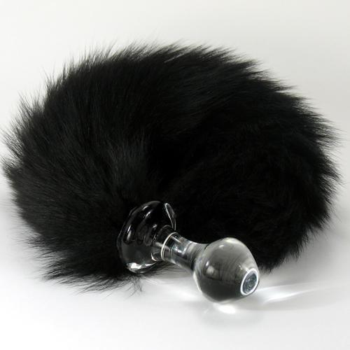 Анальная пробка стеклянная Crystal Delight Short Stem с хвостом из натурального меха лисы, черная
