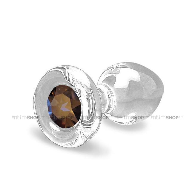 Анальная пробка стеклянная Crystal Delight Short Stem с кристаллом Swarovski, прозрачная
