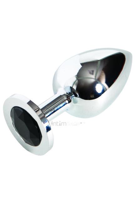 Анальная пробка c черным камнем Drop Stimulant Black Tourmaline TOYFA Metall  серебряный
