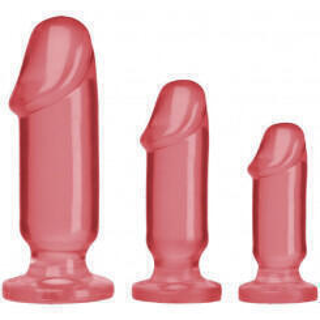 Анальные фаллоимитаторы Doc Johnson Crystal Jellies Anal Starter Kit, розовые