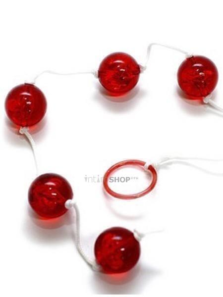 Анальные шарики Seven Creations Clear Anal Beads L, красный