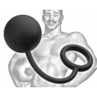 Анальный Шарик с Эрекционным Кольцом Tom of Finland Silicone Cock Ring with heavy Ball черный