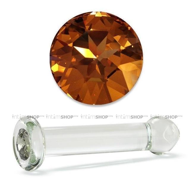 Анальный Стимулятор Стеклянный с кристаллом Swarovski Crystal Delight Dildo Gold Crystal прозрачный