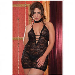 Ажурное Платье с Глубоким Декольте - XL, черный