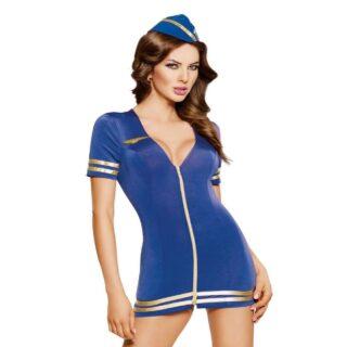 Костюм стюардессы SoftLine Collection Stewardess (платье и головной убор), синий, M/L