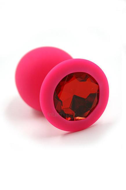 Большая анальная пробка из силикона с красным кристаллом Kanikule, розовая