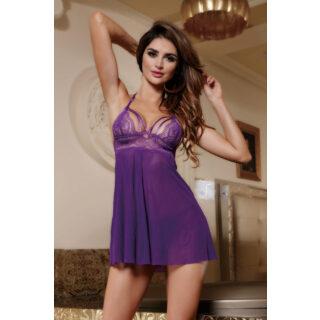 Комбинация и стринги Candy Girl Nevaeh фиолетовые, XL