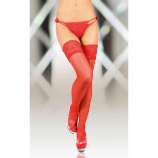 Чулки SoftLine Collection с широкой кружевной резинкой (с силик. полосками) красные-M