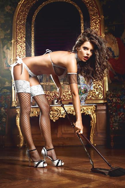 Чулки Baci Lingerie Five Star French Maid высокие в сетку черные, 42-46