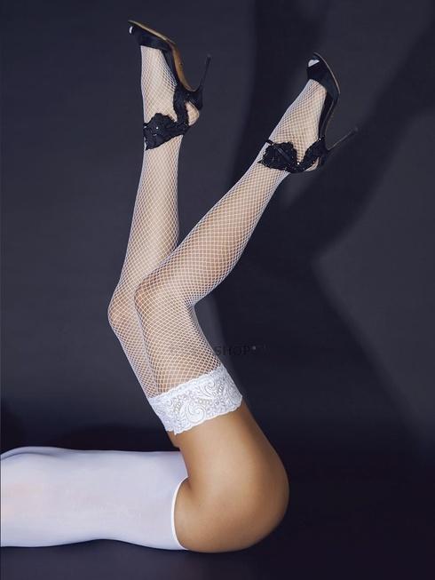 Чулки белые в мелкую сетку с кружевной резинкой на силиконе Le Frivole Sense фото