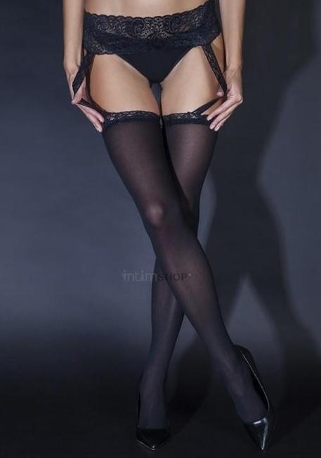 Чулки Le FRIVOLE черные с кружевным поясом (Sense), S/M