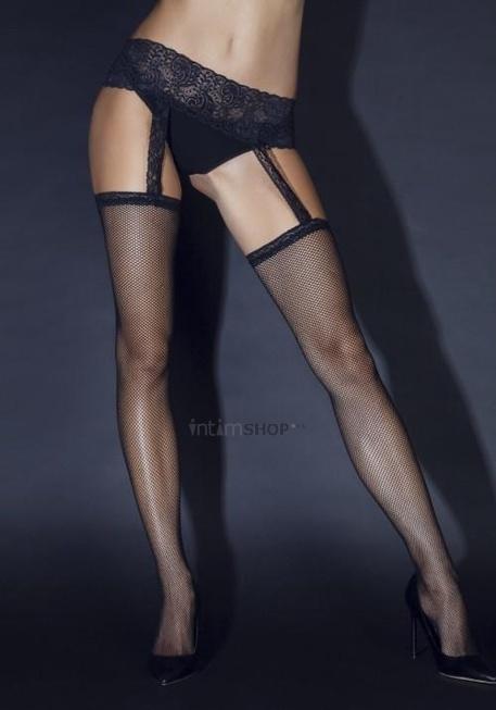 Чулки Le FRIVOLE с черным кружевным поясом (Sense), S/M