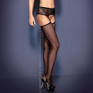 Чулки Obsessive Garter Stocking S307, размер S/M, цвет черный