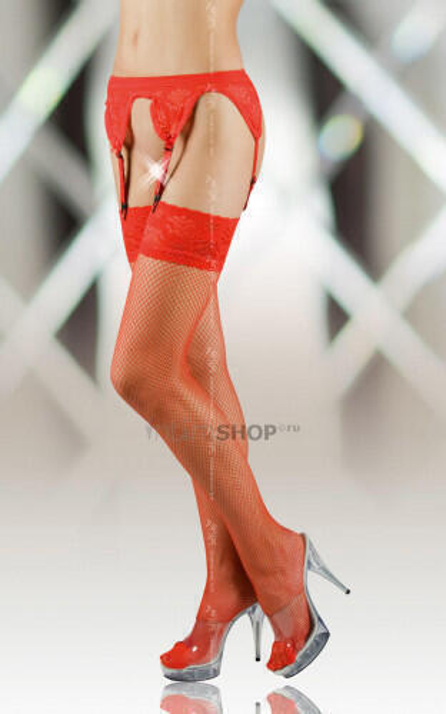 Чулки-Сетка и Пояс Soft Line красные, XL