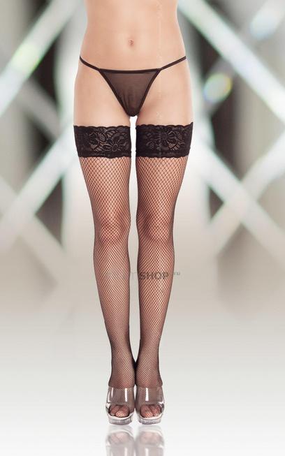 Чулки-Сетка Soft Line черные, XL