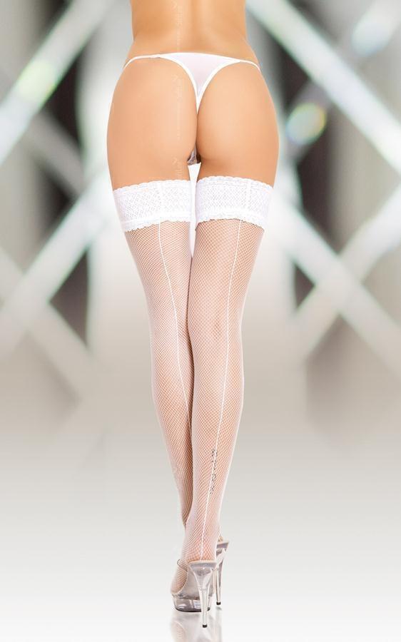 Чулки-Сетка Soft Line с кружевной резинкой белые, М