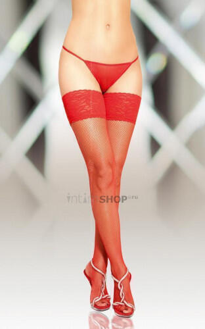 Чулки-Сетка Soft Line с кружевной резинкой красные, XXL