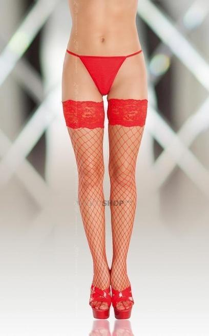 Чулки Soft Line в крупную сетку красные, XL