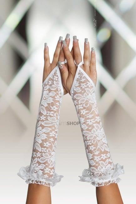 Перчатки кружевные длинные SoftLine Collection, белый, S/L фото