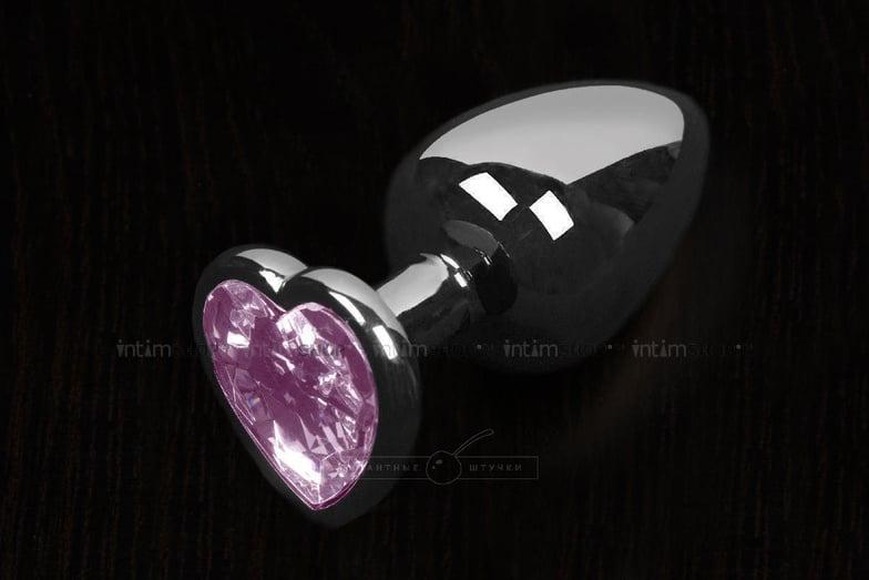Маленькая анальная пробка Пикантные Штучки с розовым кристаллом в виде сердечка, серебристая, 6 см фото