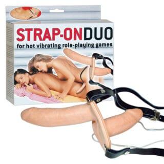 Страпон с вагинальной стимуляцией Orion Strap On Duo, телесный