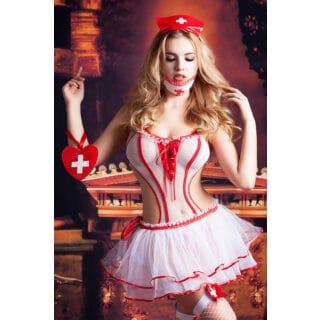 Костюм медсестры Candy Girl Lola (боди, юбка, чулки, головной убор, маска, аксессуар), бело-красный, OS