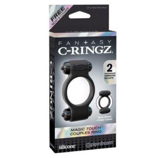 Эрекционное кольцо Magic Touch Couples Ring с 2-мя виброэлементами черное