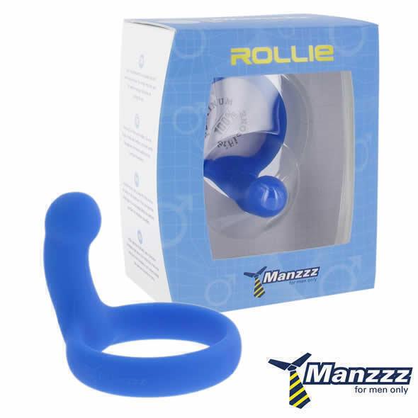 Эрекционное кольцо ManzzzToys - Rollie (Blue), голубое