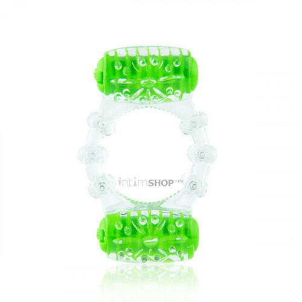 Эрекционное Кольцо с Двумя Вибро-Элементами Two-O зеленое
