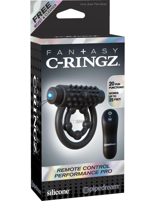 Эрекционное кольцо с подхватом мошонки с клиторальной щеточкой с вибрацией C-Ringz