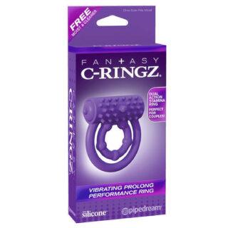 Эрекционное кольцо Vibrating Prolong Performance Ring на пенис и мошонку фиолетовое с вибрацией