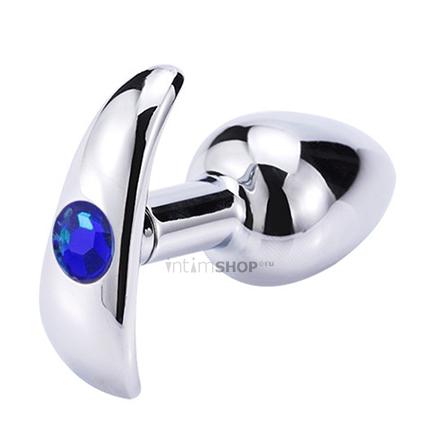 Анальная пробка для ношения Главсексмаг, металл, серебристая с синим стразом