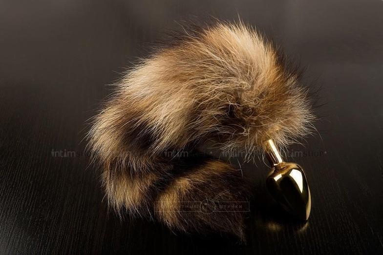Маленькая золотистая пробка с хвостом енота, 7.5 см