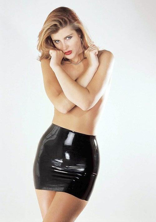 Юбка Sharon Sloane - Latex Mini Skirt Small, черный