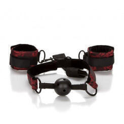 Кляп с Наручниками SCANDAL BREATHABLE BALL GAG WITH CUFFS