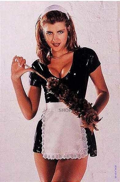 Эротическое латексное платье горничной Latex, черное, М