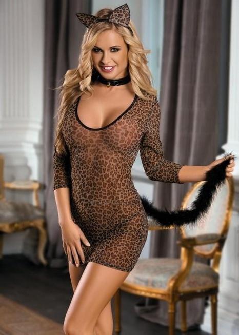 Костюм Кошки: леопардовое платье, стринги, галстук и ушки леопардовый-OS
