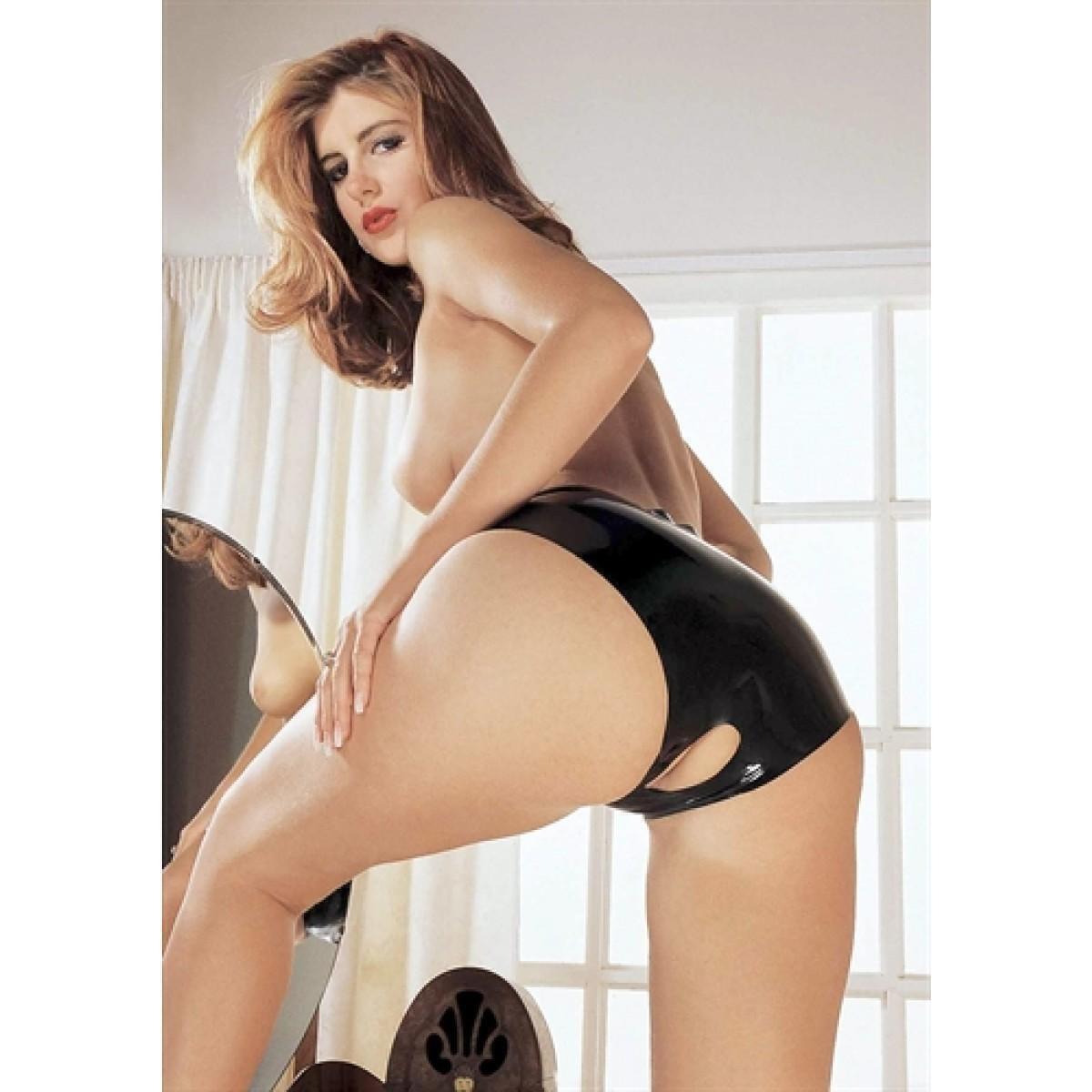 Латексные трусы Sharon Sloane - Latex Open Crotch Panties Medium с вырезом, черные