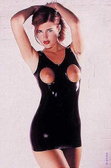 Платье с вырезами на груди Latex Open Breast Dress