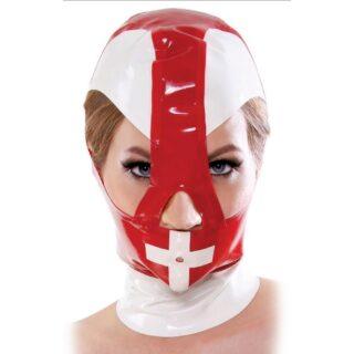 Маска-Шлем красный с белым