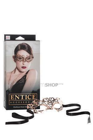Маска золотистая из никеля с имитацией кристаллов Entice Mystique Mask - Rose Gold.