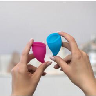 Менструальная Чаша Fun Factory FUN CUP SIZE A, розовый - бирюзовый