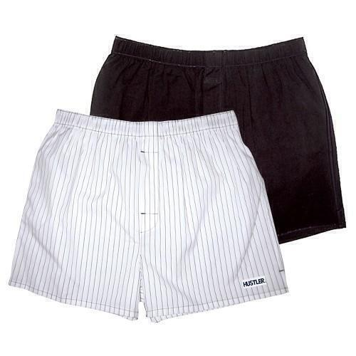 Мужские хлопковые трусы-шорты HUSTLER белые и черные, размер M