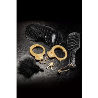 Набор Beginner's Fantasy Kit из Наручников, Пуховки, Маски и Шлепалки черный с золотом