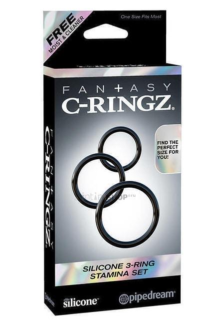 Набор из 3-х эрекционных колец Silicone 3-Ring Stamina Set черные