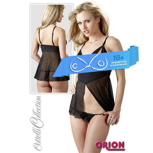 Набор женский Линн: мини-платье и стринги, цвет черный, размер M