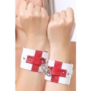 Наручники белые с красными крестами