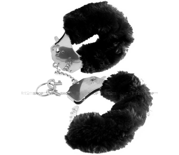 Наручники металлические Furry Cuffs с мехом черные
