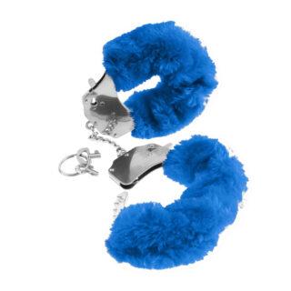 Наручники металлические Furry Cuffs с мехом синие